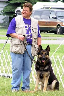 Cheryl & Hazard, the only Grand Champion German Shepherd Dog to be awarded the UKC Police Dog 1 title.