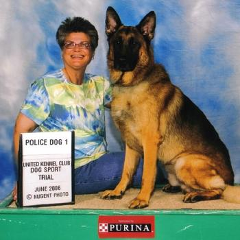 "German Shepherd ""Nicky"" with handler/owner Carole Field"