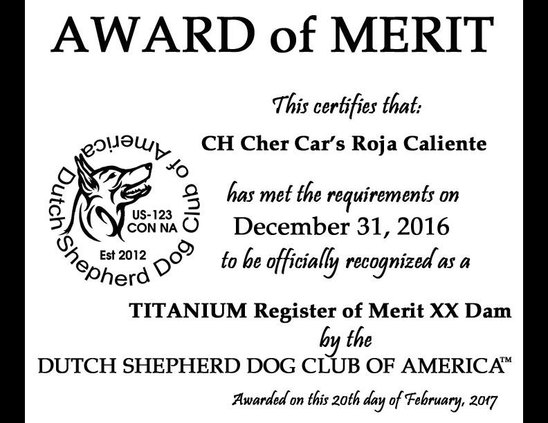 Dutch Shepherd Dog Club of America Award of Merit
