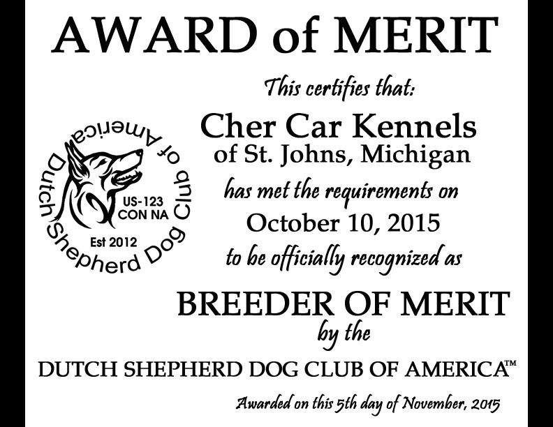 Dutch Shepherd Dog Club of America Breeder of Merit