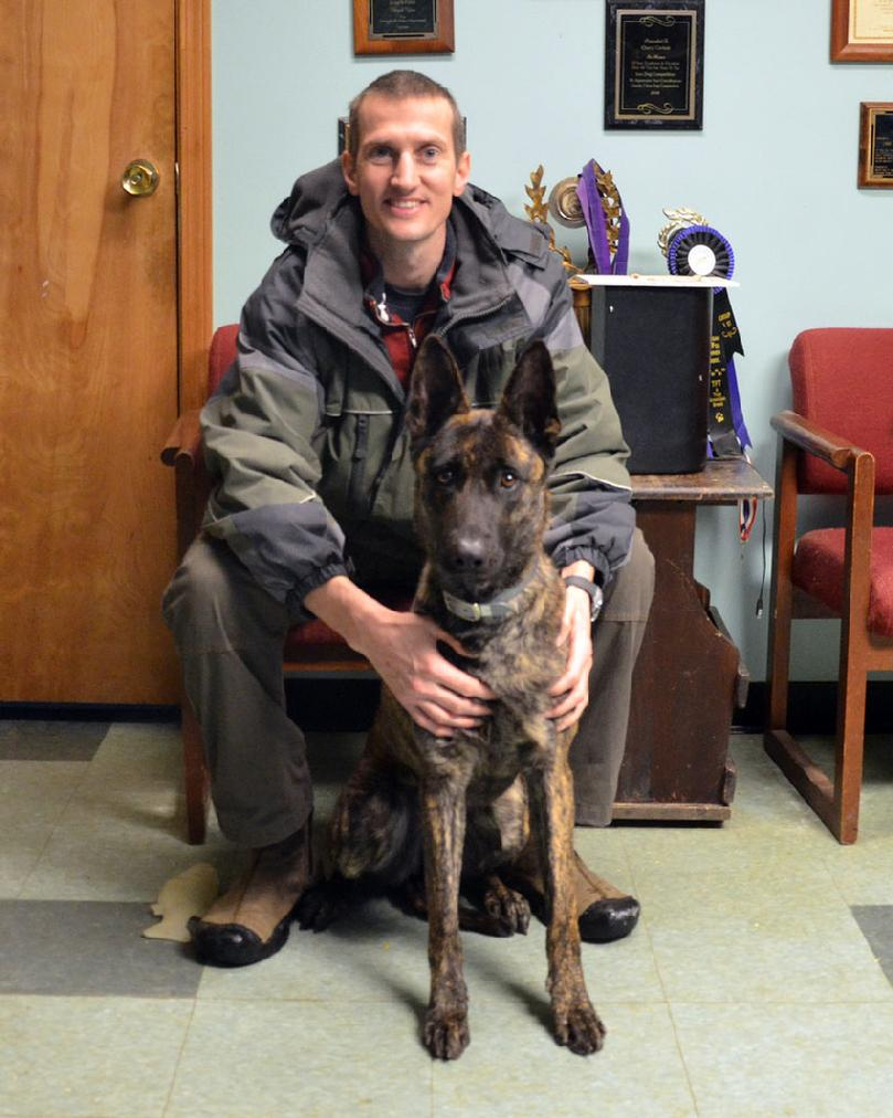 Orleans County Vermont Sheriff's Department Deputy David Roos with his new PSD K9 Cher Car's Torie