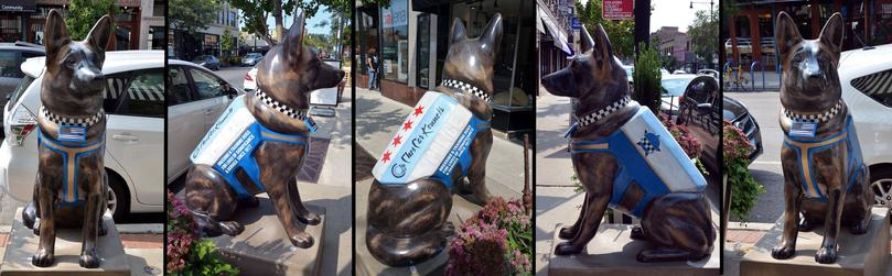 """K9s For Cops"" Dutch Shepherd Police Dog statue commissioned by Cher Car Kennels on behalf of the Chicago Police Memorial Foundation"